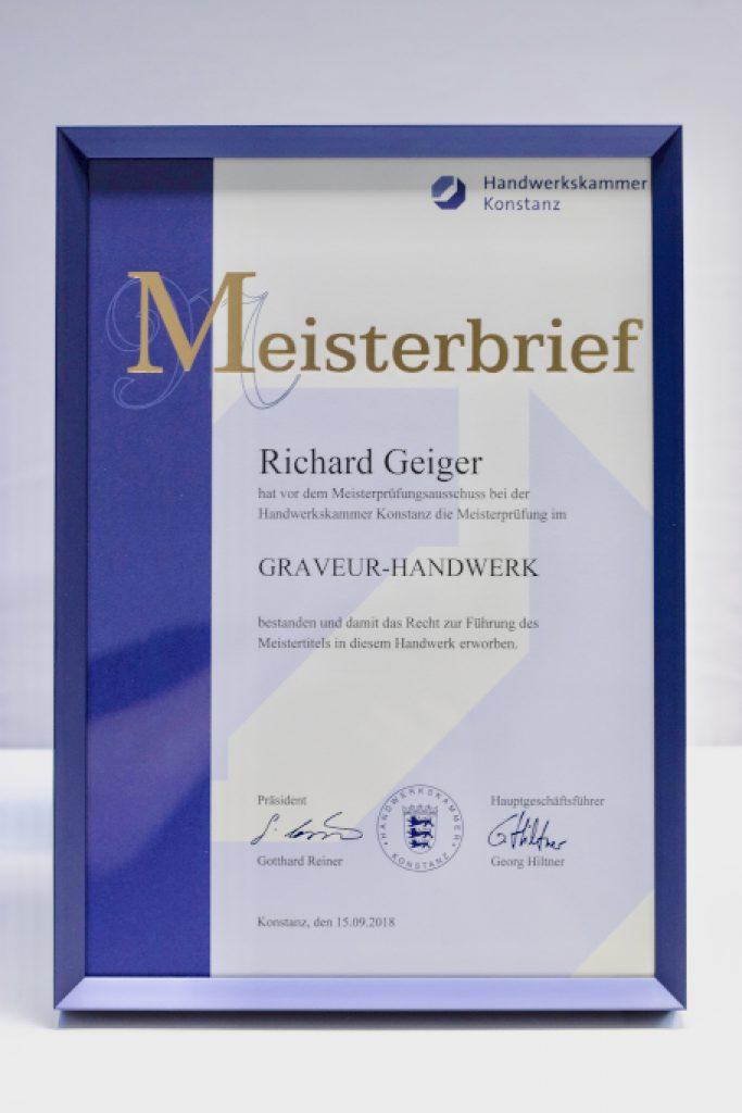 Meisterbrief Richard Geiger Naujok GmbH